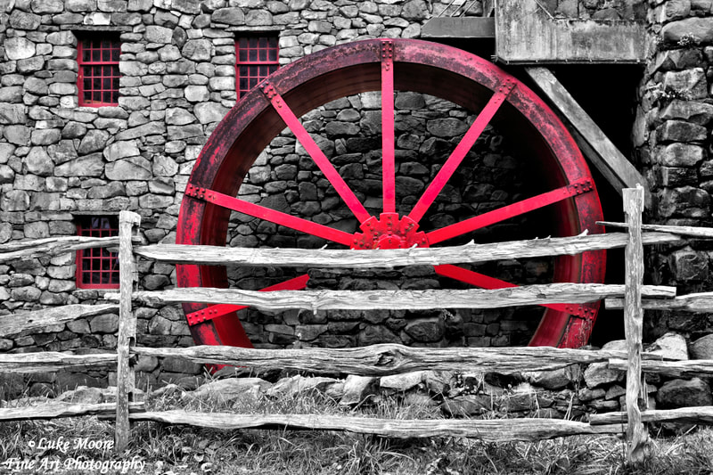 Red grist mill wheel black and white fine art prints and Wayside Inn Old Grist Mill art prints by Luke Moore. Sudbury, Massachusetts