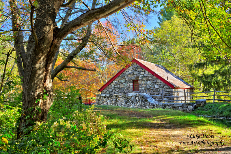 Wayside Inn Longfellow's Old Grist Mill in Sudbury, Massachusetts. Autumn fall foliage New England landscape fine art prints and wall art by Luke Moore.