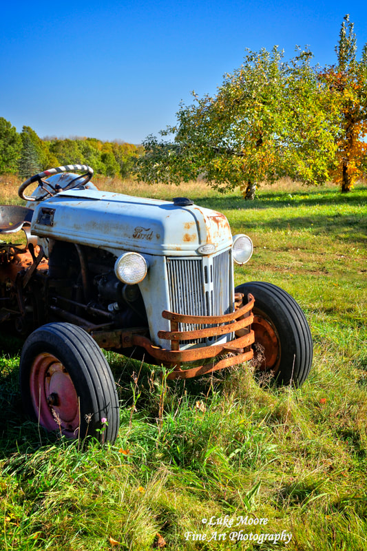 Autumn Ford tractor photos and New England fall foliage fine art prints and art prints by Luke Moore.