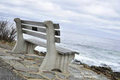 I felt like breaking all the composition rules with this Marginal Way bench photograph in Ogunquit, Maine. I love how the bench and the cloud patterns support the dynamic, diagonal horizon.