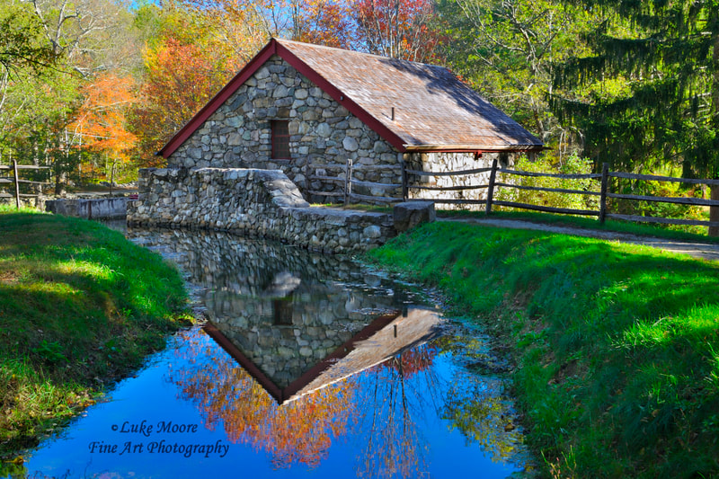 New England autumn landscape Grist Mill art prints and photographs by Luke Moore.  #NewEngland