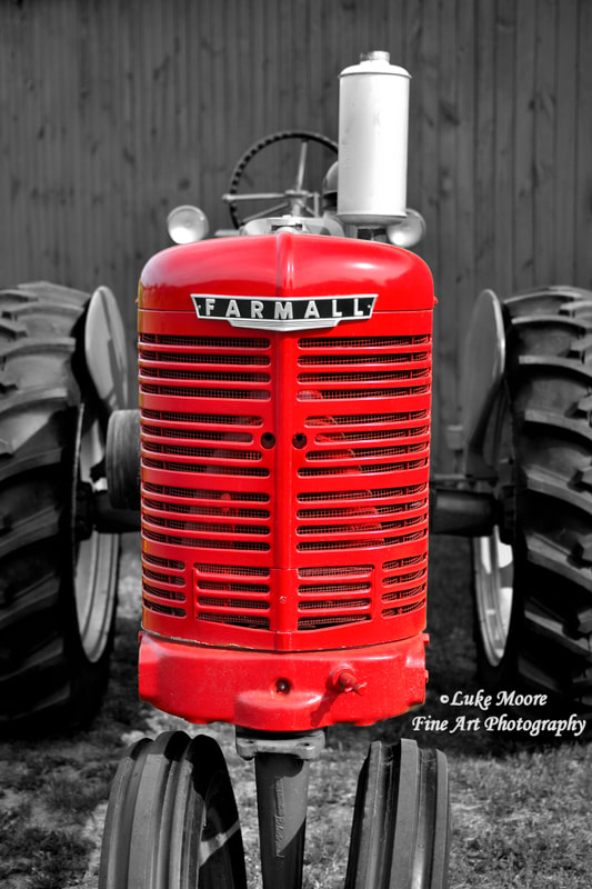 Old Farmall red tractor barn and farm prints and home decor by Luke Moore.