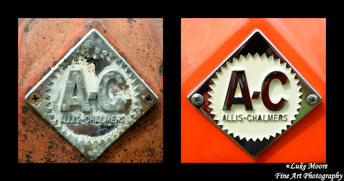 Allis-Chalmers vintage tractor nameplate namebadge fine art photography by Luke Moore