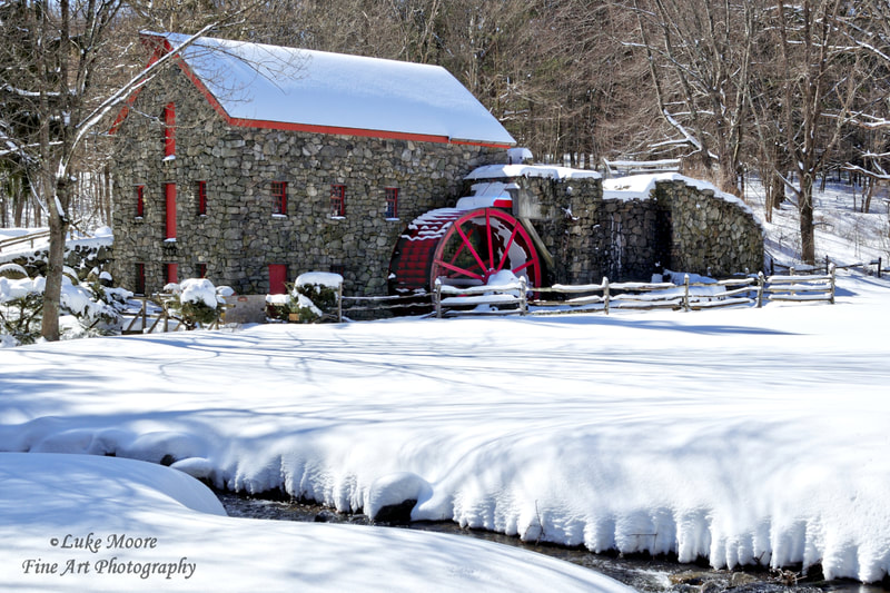 Wayside Inn Old Grist Mill winter landscape prints and wall art by Luke Moore. Interior design and interior decorating prints from New England and Massachusetts Middlesex County.