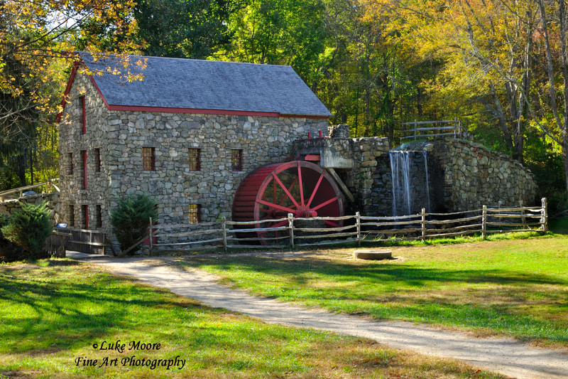 Autumn grist mill landscapes and waterwheel art prints by Luke Moore.